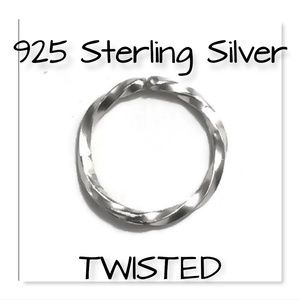 925 Twisted nose ring cartilage hoop earring